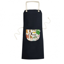 Kenya Landscape Customs Landmark Animals National Flag Resident Diet Illustration Pattern Cooking Kitchen Black Bib Aprons With Pocket for Women Men Chef Gifts