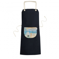 Sunrise impression Claude Monet Famous Oil Schools of impressionist Panintings Oils Cooking Kitchen Black Bib Aprons With Pocket for Women Men Chef Gifts