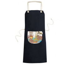 France Paris Eiffel Tower Triumphal Arch Louvre Watercolor Cooking Kitchen Black Bib Aprons With Pocket for Women Men Chef Gifts
