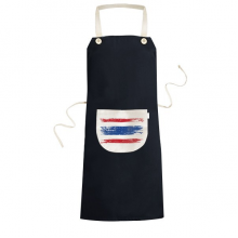 Kingdom of Thailand Thai Traditional Customs Watercolor Drawing Thailand Flag Art Illustration Cooking Kitchen Black Bib Aprons With Pocket for Women Men Chef Gifts