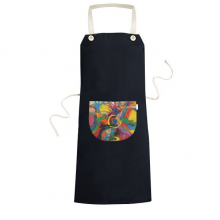 Abstract Color Elements Oil Painting Illustration Pattern Cooking Kitchen Black Bib Aprons With Pocket for Women Men Chef Gifts