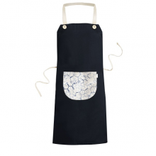 Abstract Blue Chemical Molecular Structure Illustration Cooking Kitchen Black Bib Aprons With Pocket for Women Men Chef Gifts