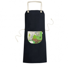 White Lotuso Green Lotus Leaf Blue Bird China Classical Painting Cooking Kitchen Black Bib Aprons With Pocket for Women Men Chef Gifts
