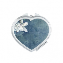 White Magnolia Blue Background Elegant Classical Chinese Painting Heart Compact Makeup Pocket Mirror Portable Cute Small Hand Mirrors Gift