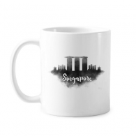 Singapore Ink City Classic Mug White Pottery Ceramic Cup Gift Milk Coffee With Handles 350 ml