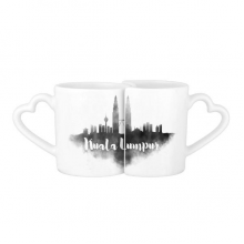 Kuala Lumpur Malaysia Ink City Lovers' Mug Lover Mugs Set White Pottery Ceramic Cup Gift Milk Coffee Cup with Handles