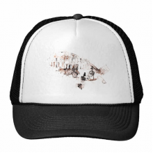 British Architecture Vintage Car Watercolor Painting Trucker Hat Baseball Cap Nylon Mesh Hat Cool Children Hat Adjustable Cap Gift