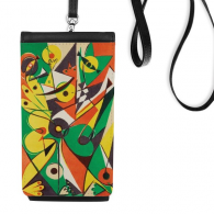 Yellow Green Heart-shaped Circle Western Style Abstract Art Painting Faux Leather Smartphone Hanging Purse Black Phone Wallet Gift