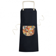 Abstract Geometric Colorful Western Style Abstract Art Painting Cooking Kitchen Black Bib Aprons With Pocket for Women Men Chef Gifts