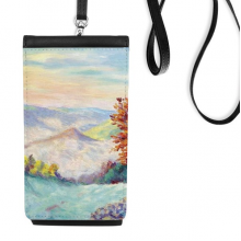 Alpine Mountain Scenery Realism Oil Schools Of Impression Painting Faux Leather Smartphone Hanging Purse Black Phone Wallet Gift