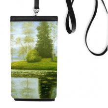 Green Tree Lake Realism Oil Schools Of Impression Painting Faux Leather Smartphone Hanging Purse Black Phone Wallet Gift