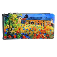 Poppy Garden Cabin Realism Oil Schools Of Impression Painting Multi-Card Faux Leather Rectangle Wallet Card Purse Gift