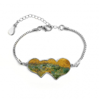 Paddy Dutch Painter Vincent Van Gogh Oil Schools Of Impression Painting Double Hearts Shape Round-Cut Cubic Chain Bracelet Love Gifts