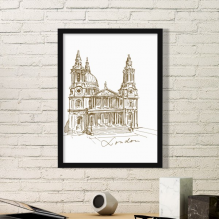 St.Paul's Cathedral Britain England London Iandmark Pattern Simple Picture Frame Art Prints of Paintings Home Wall Decal