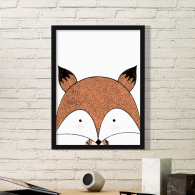 Simplicity Style Immature Fox Cute Animal Illustration Simple Picture Frame Art Prints of Paintings Home Wall Decal