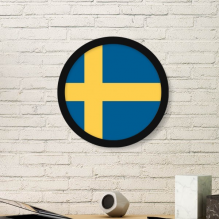 Sweden National Flag Europe Country Symbol Mark Pattern Round Simple Picture Frame Art Prints of Paintings Home Wall Decal