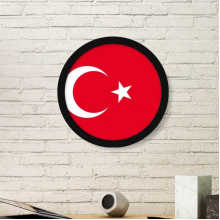 Turkey National Flag Asia Country Symbol Mark Pattern Round Simple Picture Frame Art Prints of Paintings Home Wall Decal