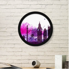 UK England London Purple Watercolor Landmark Illustration Pattern Round Simple Picture Frame Art Prints of Paintings Home Wall Decal