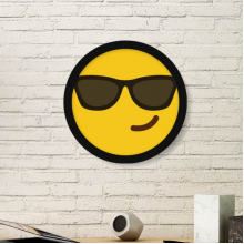 Sunglass Cool Yellow Cute Lovely Online Chat Happy Illustration Pattern Round Simple Picture Frame Art Prints of Paintings Home Wall Decal