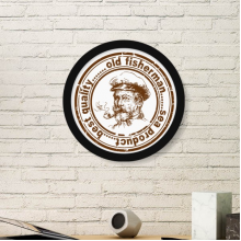 Old Fisherman Captain Classic Landmark Country City Postmark Illustration Pattern Round Simple Picture Frame Art Prints of Paintings Home Wall Decal