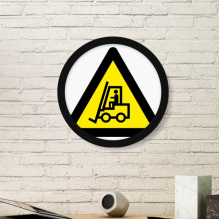 Warning Symbol Yellow Black Forklifts Triangle Sign Mark Logo Notices Round Simple Picture Frame Art Prints of Paintings Home Wall Decal