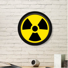 Yellow Dangerous Chemical Radiation Harmful Frightful Circle Symbol Illustration Pattern Round Simple Picture Frame Art Prints of Paintings Home Wall Decal