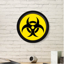 Yellow Dangerous Chemical Toxic Radiation Harmful Circle Symbol Illustration Pattern Round Simple Picture Frame Art Prints of Paintings Home Wall Decal