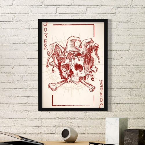 Joker Red Mystery Crown Human Skeleton Poker Card Illustration Pattern Simple Picture Frame Art Prints of Paintings Home Wall Decal