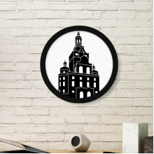 Germany Famous Building Landmark Architecture Outline Illustration Pattern Round Simple Picture Frame Art Prints of Paintings Home Wall Decal