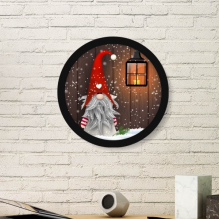 Christmas Santa Claus Snowflake Moustache Festival Illustration Pattern Round Simple Picture Frame Art Prints of Paintings Home Wall Decal