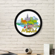 Germany Munchen Landmark Architecture Building Illustration Pattern Round Simple Picture Frame Art Prints of Paintings Home Wall Decal