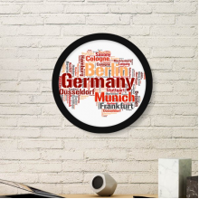 Germany City Name Map Style Illustration Pattern Round Simple Picture Frame Art Prints of Paintings Home Wall Decal