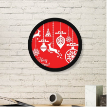 Christmas Elk Bulb Snowflake Tree Red Merry Christmas Festival Illustration Pattern Round Simple Picture Frame Art Prints of Paintings Home Wall Decal