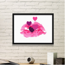 Valentine's Day Pink Lip-Shaped-Based Colorful Hearts Illustration Pattern Simple Picture Frame Art Prints of Paintings Home Wall Decal