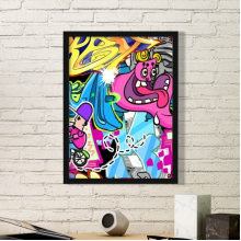 Graffiti Street Culture Colorful Monster Man Bicycle Hand Decorated American Art Illustration Pattern Simple Picture