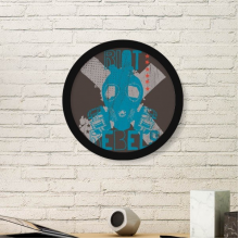 Blue Black Urban Revolution Rebels Gas Head Illustration Pattern Round Simple Picture Frame Art Prints of Paintings Home Wall Decal