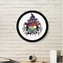 Colorful Fashion Japanese Samurai Gas Head Illustration Pattern Round Simple Picture Frame Art Prints of Paintings Home Wall Decal
