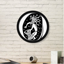 Abstract Ancient Egypt Pharaoh Decorative Pattern Sacrifice Art Silhouette Round Simple Picture Frame Art Prints of Paintings Home Wall Decal