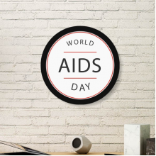 1st December World AIDS Day HIV Awareness Solidarity Symbol Round Simple Picture Frame Art Prints of Paintings Home Wall Decal
