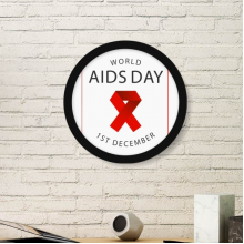 1st December Red Ribbon World AIDS Day HIV Awareness Solidarity Symbol Round Simple Picture Frame Art Prints of Paintings Home Wall Decal