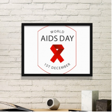 1st December Red Ribbon World AIDS Day HIV Awareness Solidarity Symbol Simple Picture Frame Art Prints of Paintings Home Wall Decal