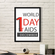 1st December World AIDS Day Solidarity HIV Awareness Symbol Simple Picture Frame Art Prints of Paintings Home Wall Decal
