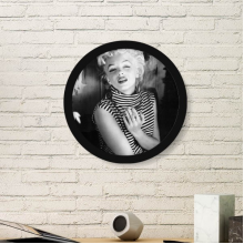 Striped Dress Marilyn Monroe Old Movie White Dress Classic Photos Sexy Picture Round Simple Picture Frame Art Prints of Paintings Home Wall Decal
