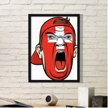 Switzerland National Flag Facial Painting Makeup Mask Screaming Cap Simple Picture Frame Art Prints of Paintings Home Wall Decal