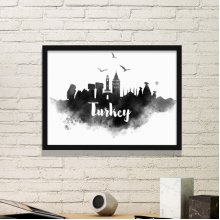 Turkey Landmark Ink City Painting Simple Picture Frame Art Prints of Paintings Home Wall Decal