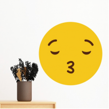 Kiss Love Yellow Cute Lovely Online Chat Emoji Illustration Pattern Removable Wall Sticker Art Decals Mural DIY Wallpaper for Room Decal