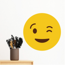 Blink Smile Yellow Cute Lovely Online Chat Emoji Illustration Pattern Removable Wall Sticker Art Decals Mural DIY Wallpaper for Room Decal