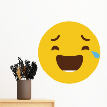 Laugh Cry Yellow Cute Lovely Online Chat Emoji Illustration Pattern Removable Wall Sticker Art Decals Mural DIY Wallpaper for Room Decal