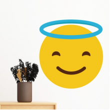 Smile Angle Yellow Cute Lovely Online Chat Emoji Illustration Pattern Removable Wall Sticker Art Decals Mural DIY Wallpaper for Room Decal