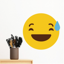 Laugh Awkward Yellow Cute Lovely Online Chat Emoji Illustration Pattern Removable Wall Sticker Art Decals Mural DIY Wallpaper for Room Decal